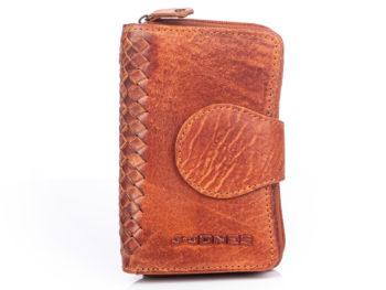 Duży skórzany portfel brązowy