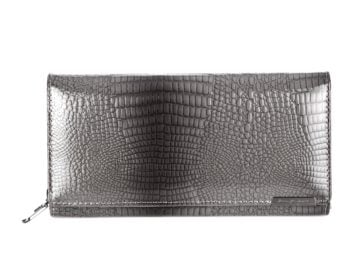Szary portfel Jennifer Jones wężowa skóra