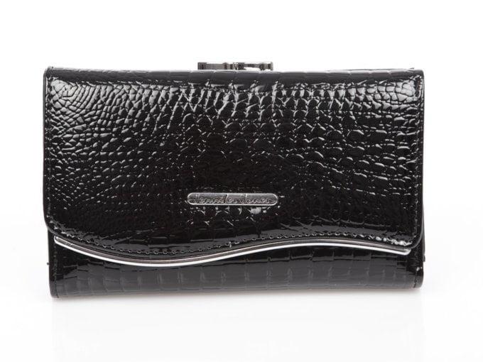Czarny lakierowany duży portfel damski