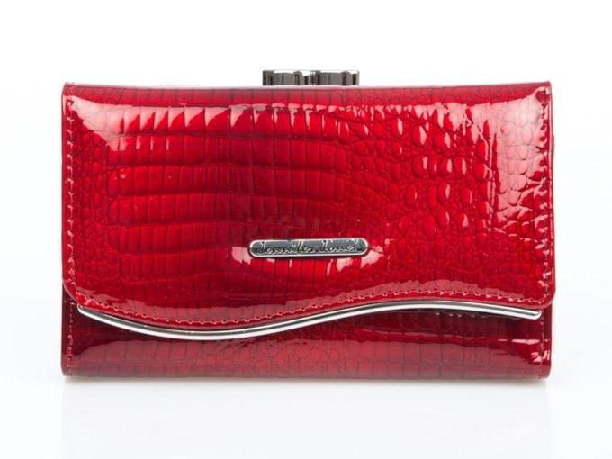 Czerwony portfel damski z falowaną blaszką Jennifer Jones