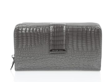 Szary lakierowany portfel duży Jennifer Jones