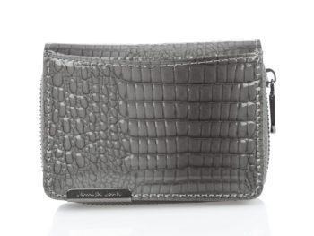 Mały szary portfel damski zapinany na zamek