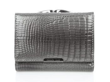 Średni szary portfel damski lakierowany na bigiel