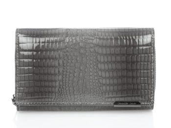 Bardzo duży lakierowany szary portfel damski