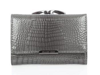 Szary lakierowany portfel z biglem średni
