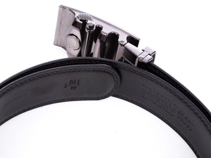 Skórzany czarny pasek męski do spodni z automatyczną klamrą