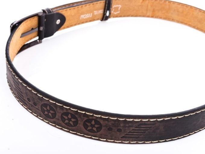 Młodzieżowy skórzany brązowy pasek do spodni