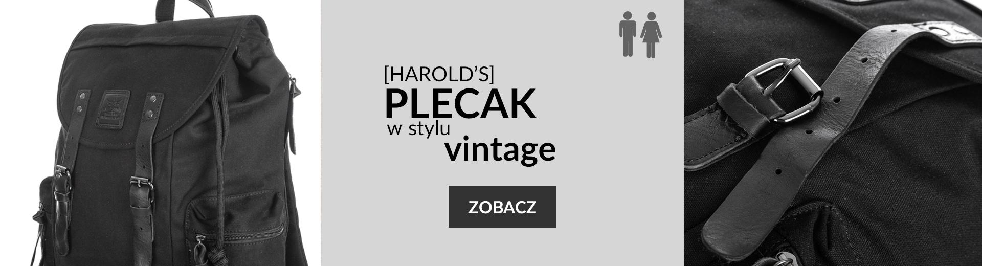 Czarny plecak ze skórą naturalną Harold's Vintage