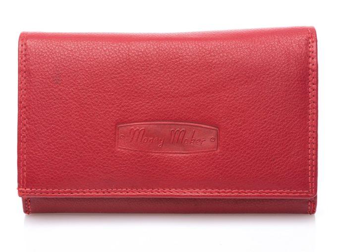Portfel damski czerwony gładki RFID duży