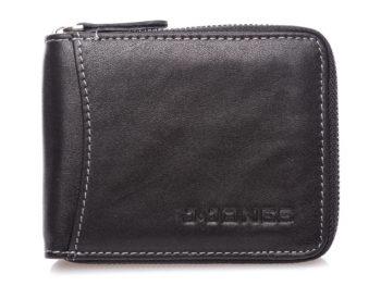 Mały portfel męski czarny zapinany na zamek