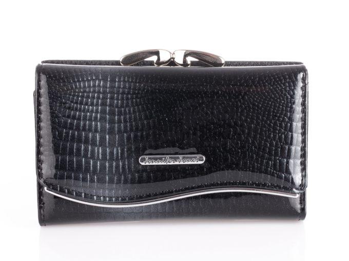 Czarny portfel damski z brokatem Jennifer Jones 5245
