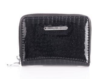 Mały czarny portfel damski z brokatem
