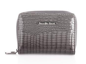 Kieszonkowy portfel damski szary lakierowany