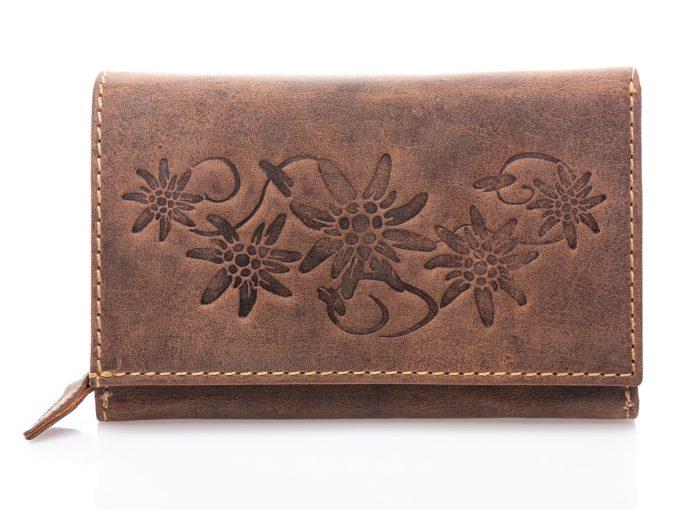 Duży portfel damski w stylu vintage z surowej skóry naturalnej