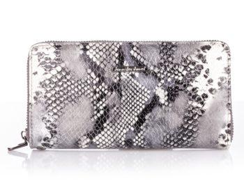 Duży portfel damski srebrny zapinany dookoła na zamek jennifer Jones