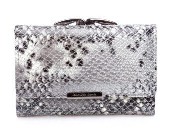 Srebrny portfel z brokatem damski średniej wielkości