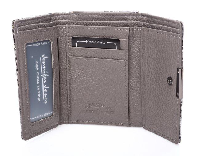 Wnętrze portfela z matowej skóry naturalnej w kolorze szarym