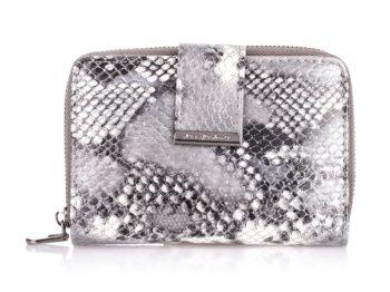 Średniej wielkości srebrny portfel damski z brokatem Jennifer Jones