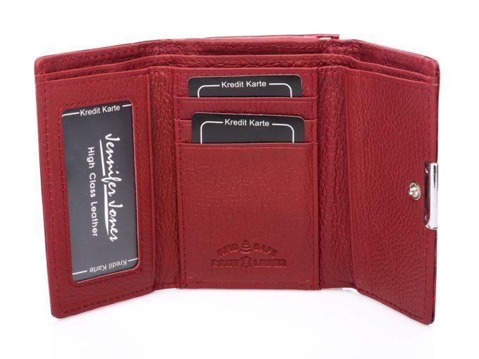 Czerwone, matowe wnętrze portfela Jennifer Jones