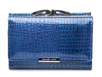 Portfel niebieski lakierowany damski średniej wielkości