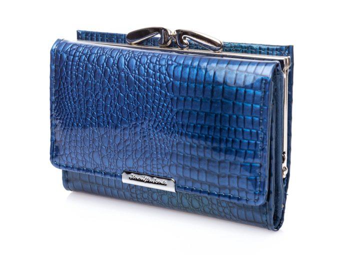 Niebieski portfel damski lakierowany ze skóry naturalnej cromo