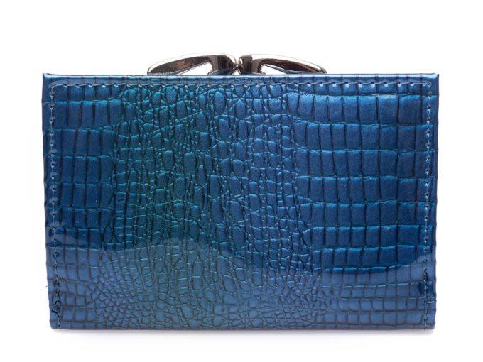 Niebieski portfel damski z tyłu