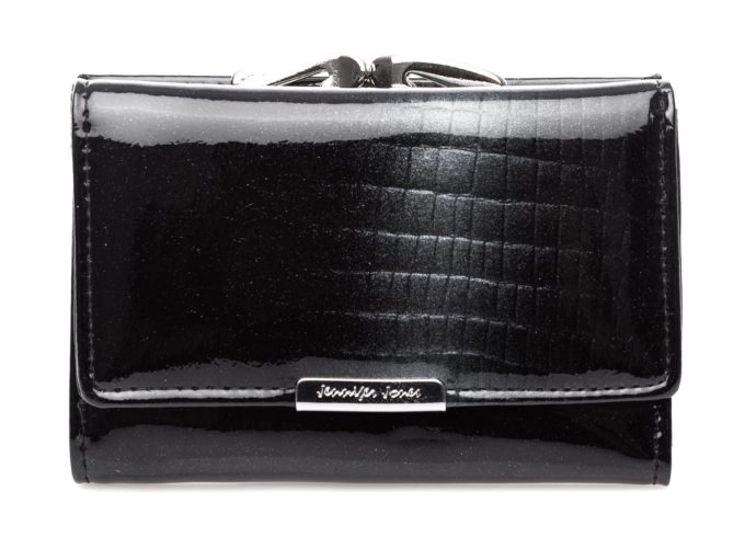 Czarny średni portfel damski z brokatem szarym