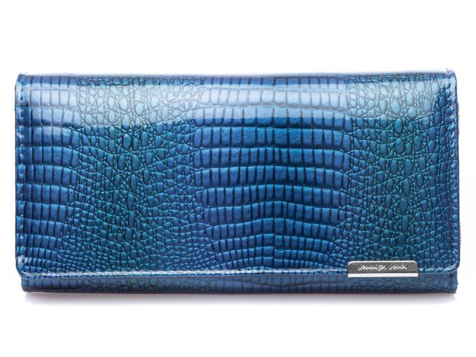 Duży poziomy niebieski portfel damski z lakierowanej skóry naturalnej