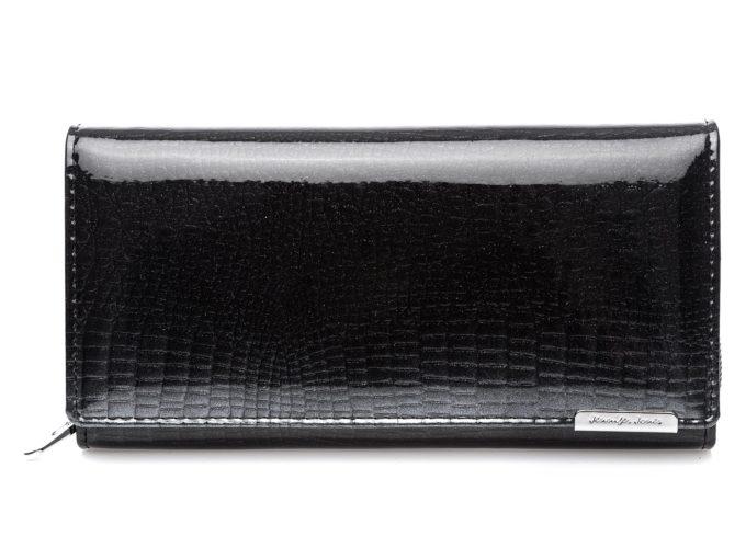 Czarny poziomy portfel damski lakierowany z brokatem