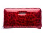 Czerwony z cieniami portfel damski typu piórnik 5295