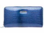 niebieski portfel damski typu piórnik lakierowany