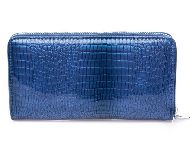 Niebieski portfel damski lakierowany z tyłu
