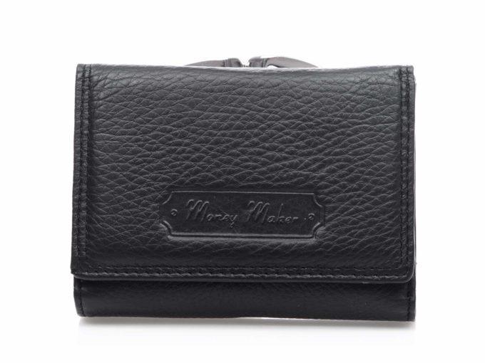 Czarny portfel damski z kieszonką na bigiel