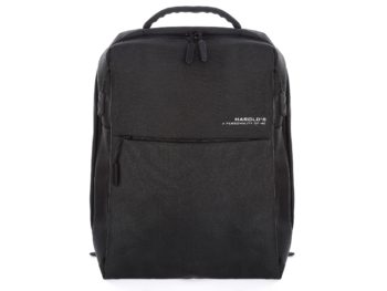 Elegancki czarny plecak na laptopa męski prostokątny