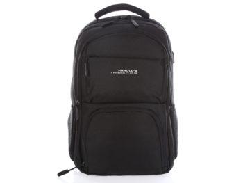 Czarny plecak z portem USB do ładowania telefonu