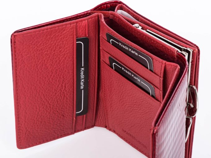 Czerwony lakierowany portfel skórzany Jennifer Jones zamykany na bigiel