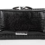 Czarny skórzany lakierowany portfel damski na bigiel