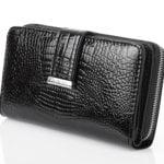 Poziomy duży czarny skórzany portfel damski Jennifer Jones