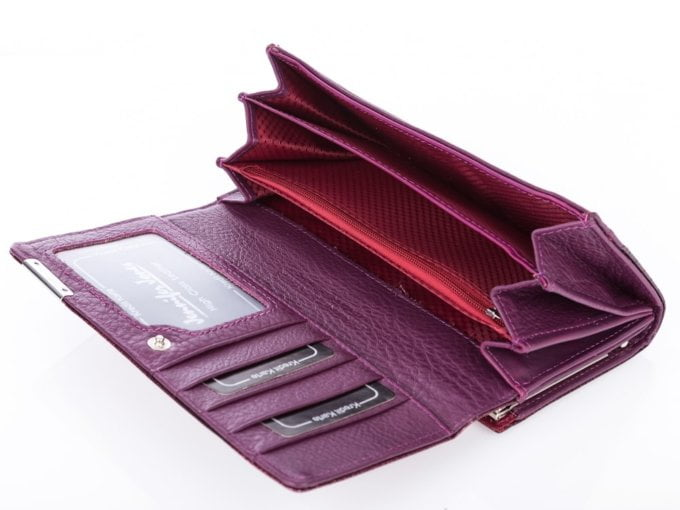 Fioletowy lakierowany skórzany portfel damski Jennifer Jones