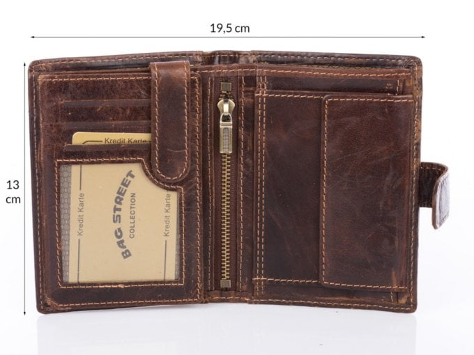 Portfel brązowy pionowy trifold Cash męski