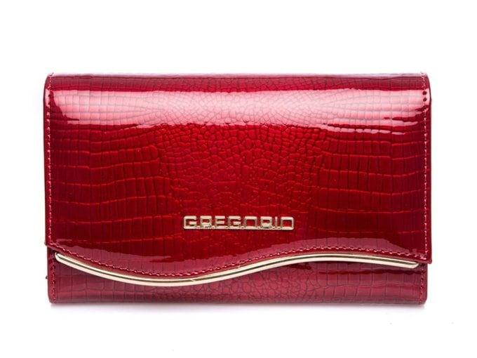 Błyszczący wiśniowy portfel gregorio
