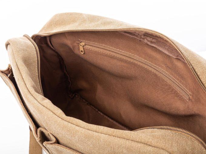 Beżowa torba męska na ramię A4 ze skórzanymi elementami