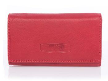 Klasyczny skórzany portfel damski Money Maker, czerwony