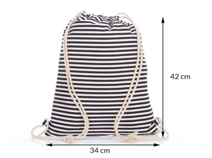 czarno biały plecak na sznurkach