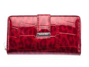 Duży cieniowany czerwony portfel damski Jennifer Jones
