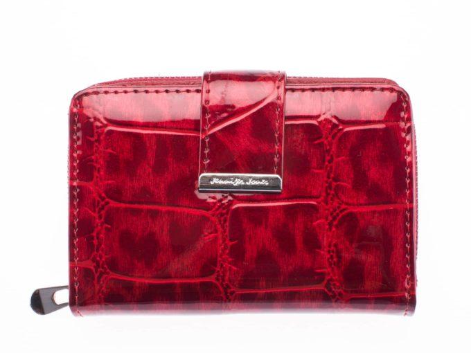 Średni czerwony i cieniowany portfel damski