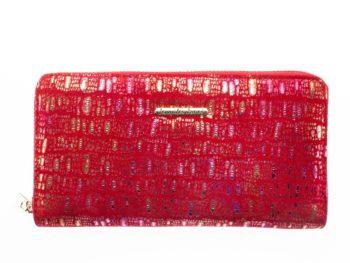 Duży portfel z mięciutkiego materiału z błyszczącymi elementami