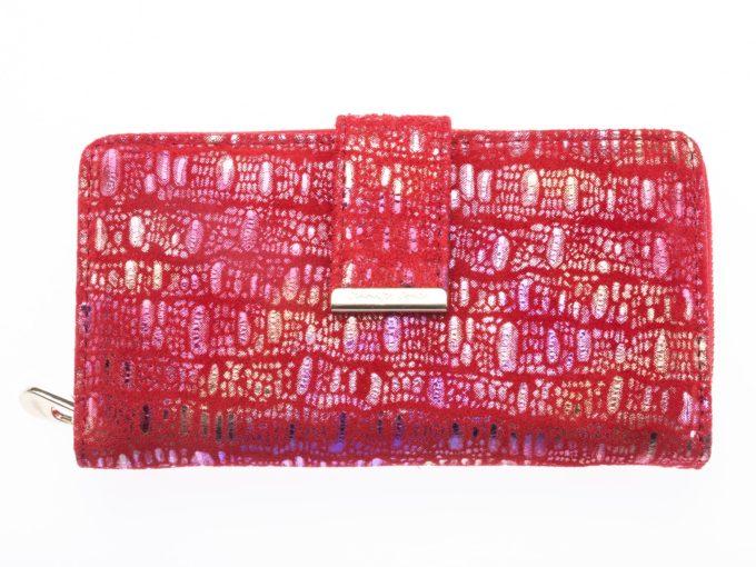 Błyszczący portfel damski czerwony Jennifer Jones