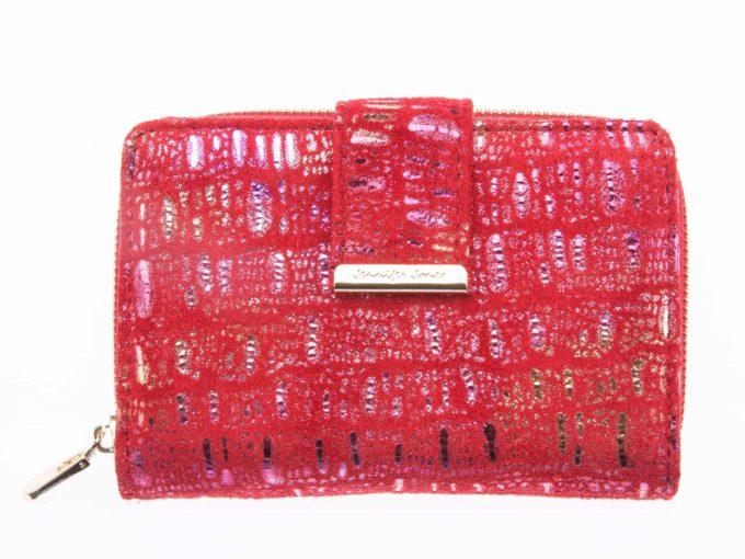 Portfel damski czerwony z błyszczącymi elementami