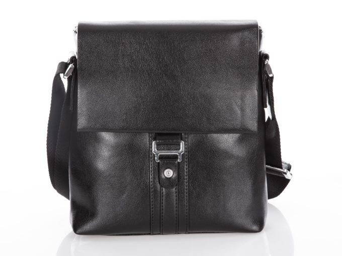 Czarna torba męska ze skóry ekologicznej